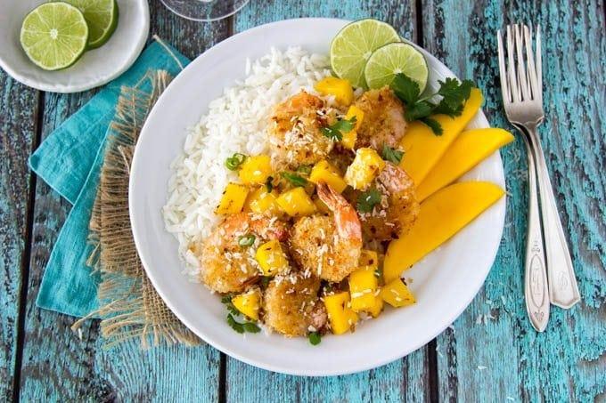baked-coconut-shrimp-mango-rice featured