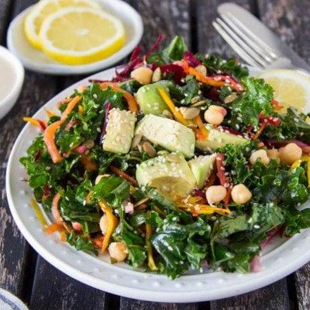 chickpea-kale-salad-lemon-tahini-dressing featured