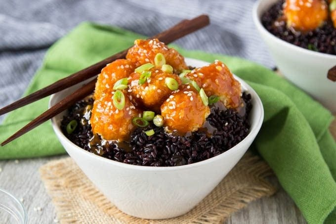 Baked orange cauliflower forbidden rice simple healthy kitchen its no secret i have a sweet spot for asian dishes especially those that feature a sweet orange chili glaze last year i set out to make a healthy version forumfinder Image collections
