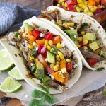 slow-cooker -pork-carnitas-tacos-corn-avocado- salsa featured