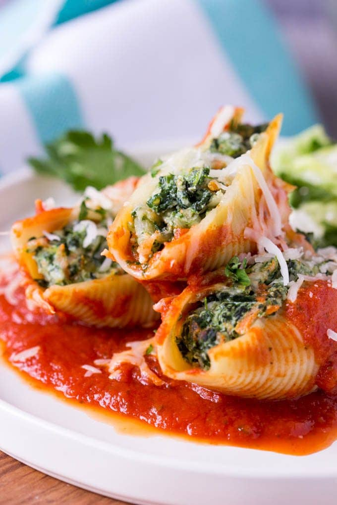 Spinach + Cheese Stuffed Pasta Shells