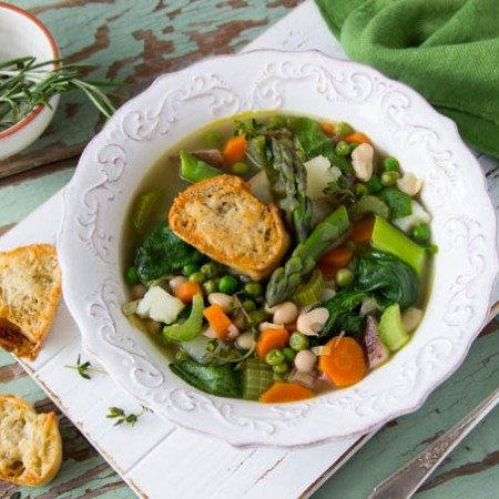 spring-vegetable-soup-parmesan-croutons featured