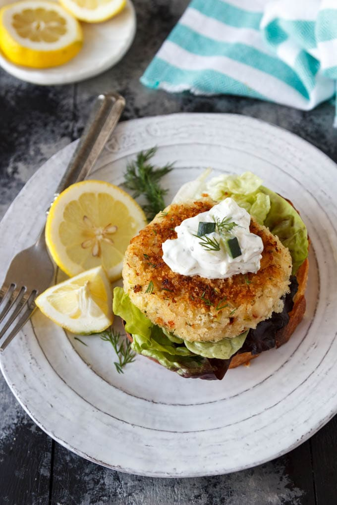 Open-Faced Crab Cake Sandwich - Simple Healthy Kitchen