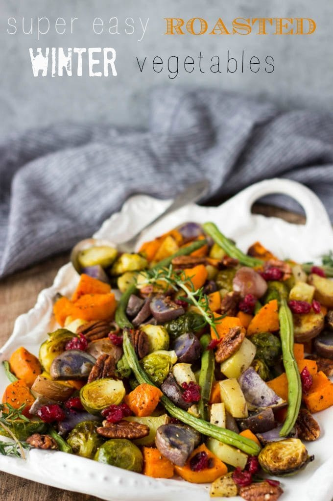 oven roasted vegetables on a white platter ready to be served
