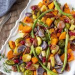 Baked Vegetables on a white serving platter