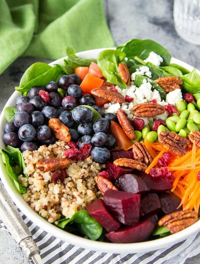 Quinoa + Spinach + Blueberry Superfood Bowl