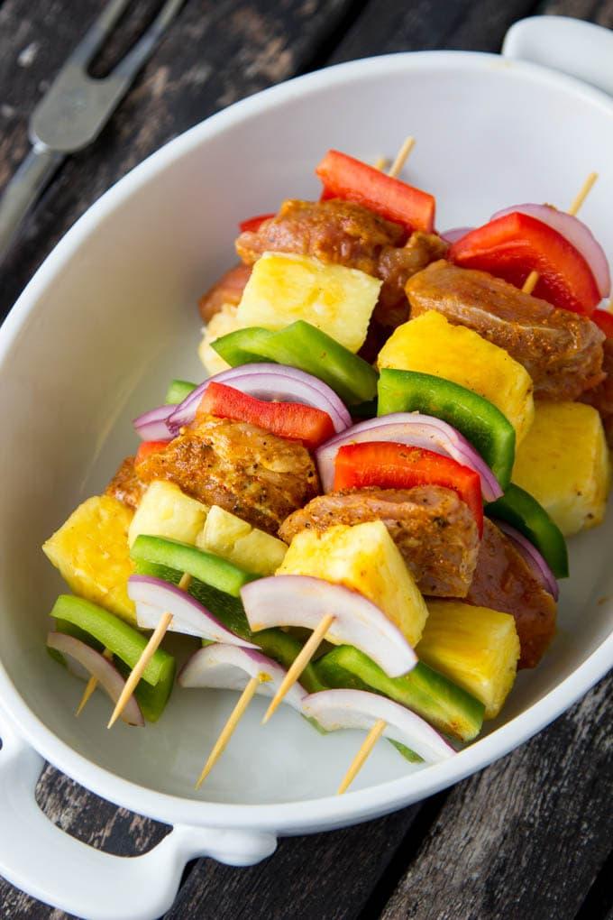 Curry Pork + Pineapple Kabobs