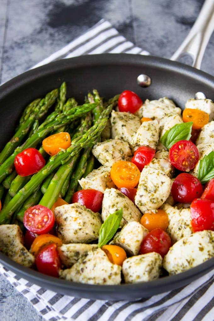 Skillet Pesto Chicken and Asparagus