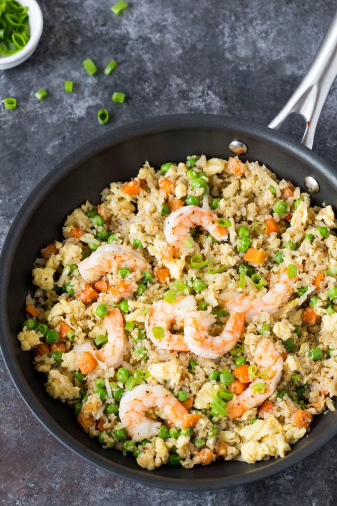 one-pan shrimp fried cauliflower rice