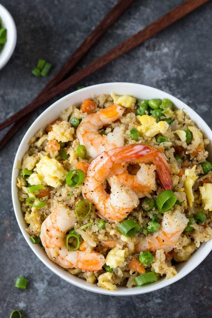 Shrimp fried cauliflower rice simple healthy kitchen shrimp fried cauliflower rice ccuart Image collections