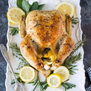 Whole Roasted Chicken with Lemon, Garlic and Rosemary