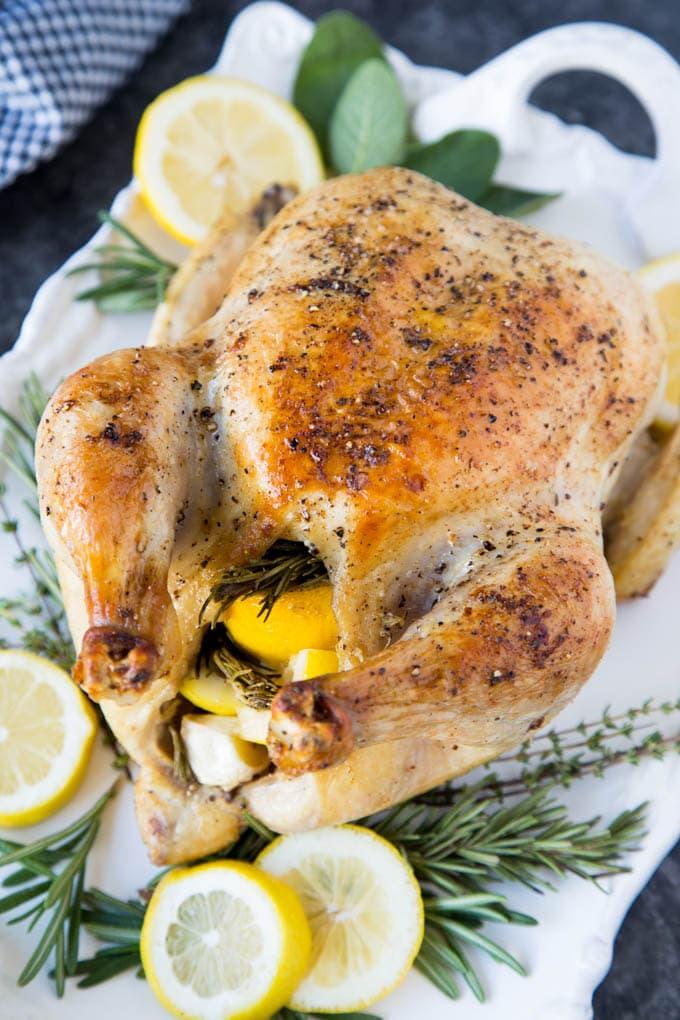 Whole Roasted Chicken With Lemon Garlic Amp Rosemary