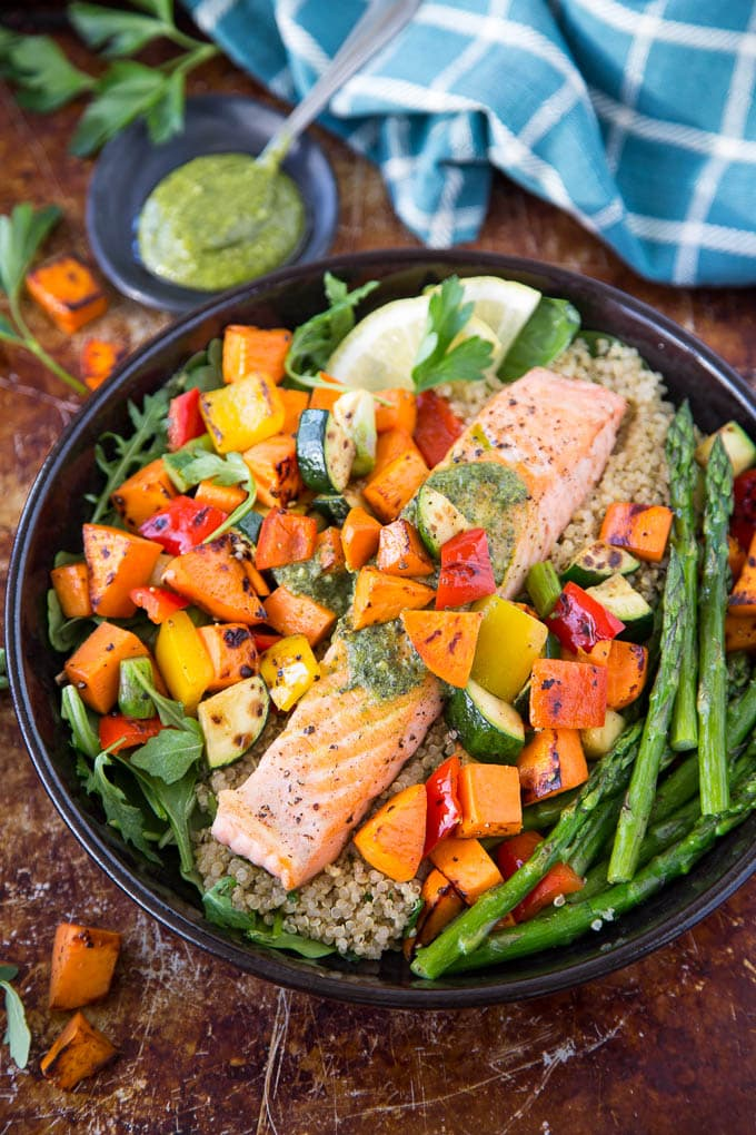 Roasted Salmon, Sweet Potato and Veggie Bowl (Sheet pan dinner)