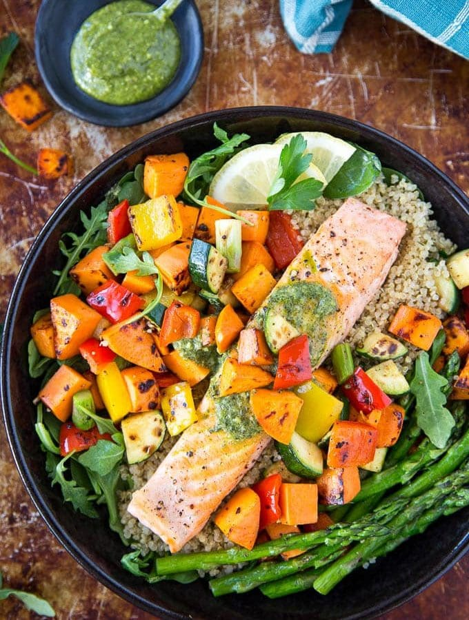 Roasted Salmon Veggie Bowl