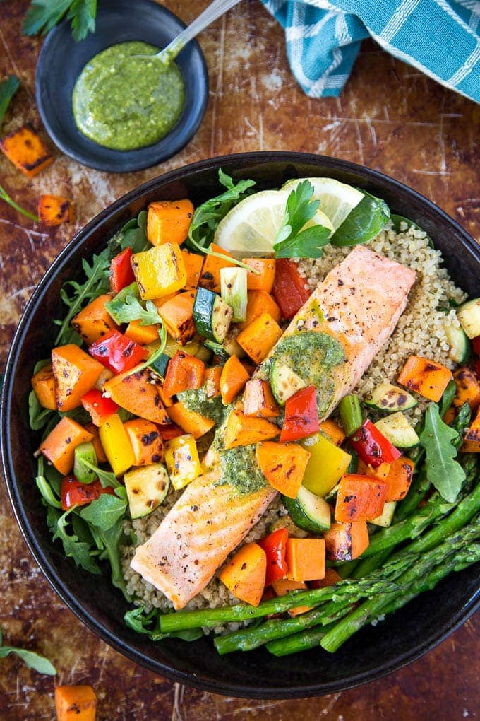 roasted salmon and veggies featured