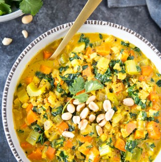 "Healthy Curried Cauliflower ""Rice"" Soup"