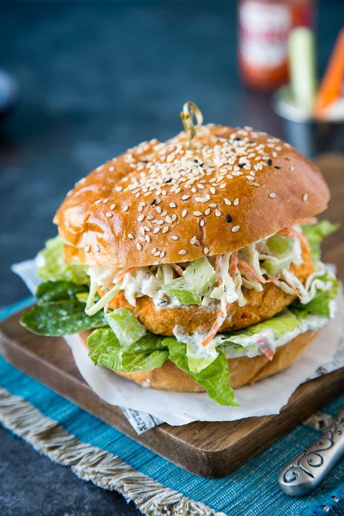 Buffalo Buffalo Chickpea Veggie Burger {with Ranch Slaw}