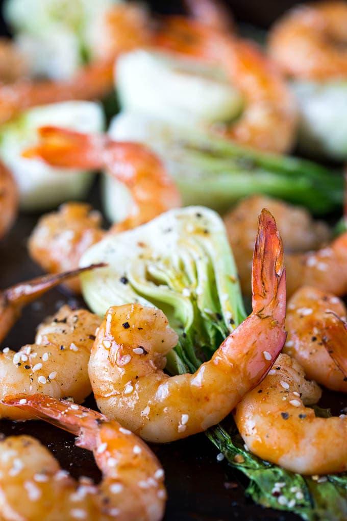 Sheetpan Teriyaki Shrimp Sesame Bok Choy Simple Healthy Kitchen