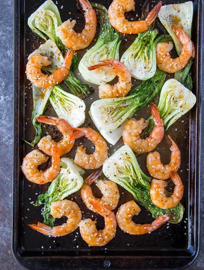 Sheetpan Teriyaki Shrimp + Sesame Bok Choy