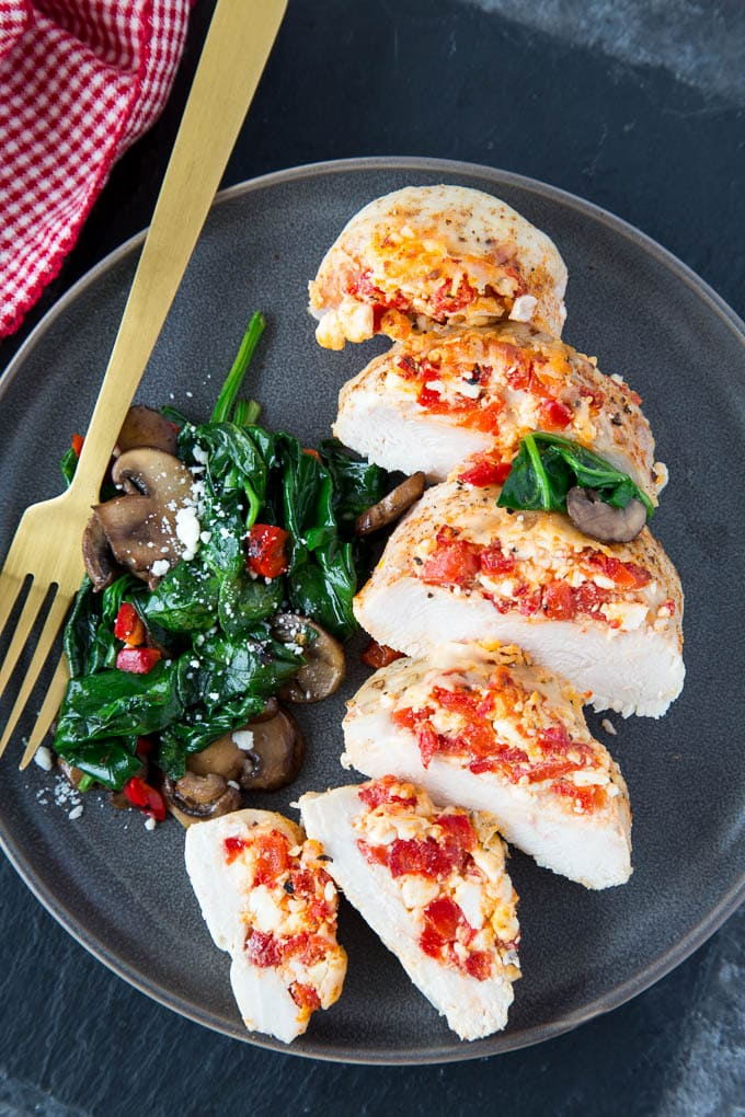 Roasted Red Pepper + Feta Hasselback Chicken
