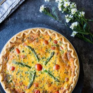 Asparagus, Tomato & Cheddar Quiche