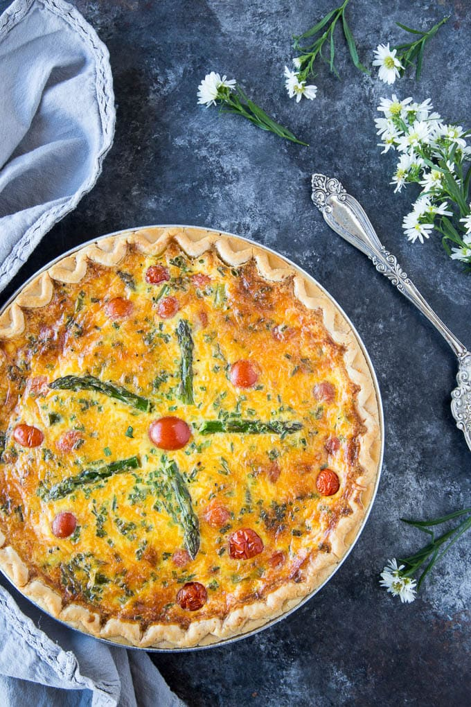 Asparagus Cheddar Quiche | Simple Healthy Kitchen