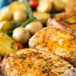 Ranch Pork Chops + Potatoes Sheet Pan Dinner