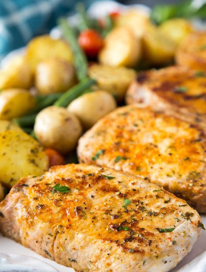 Ranch Pork Chops + Potatoes Sheet Pan Dinner