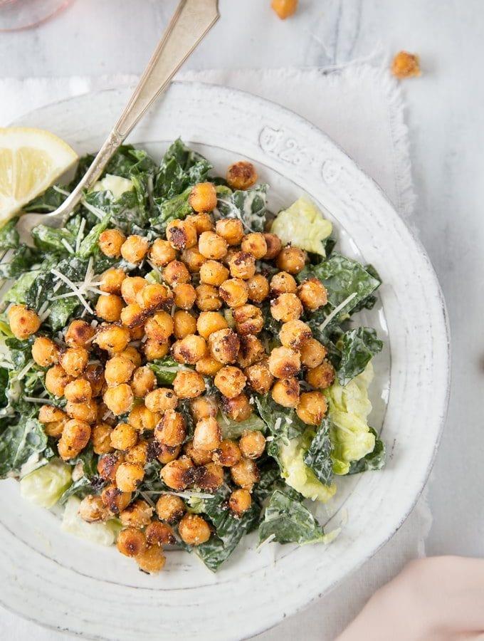 Kale Caesar Salad + Crispy Parmesan Chickpeas