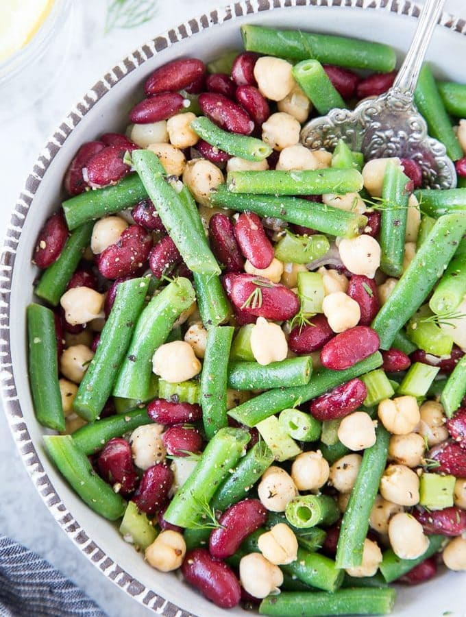 Three Bean Salad with lemon & dill}