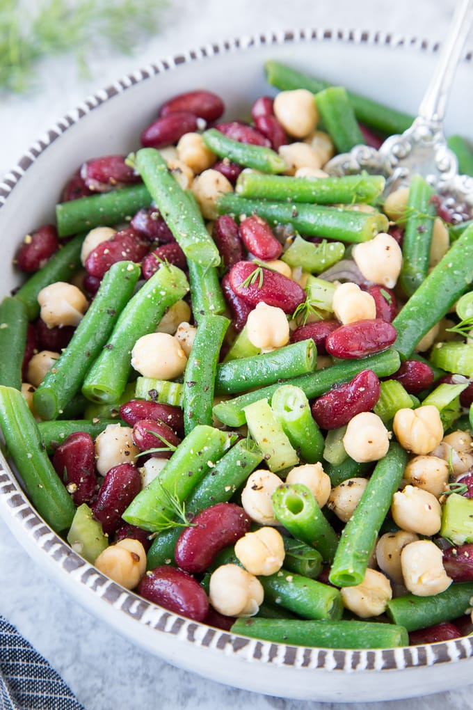 Three Bean Salad { Easy, Healthy, Vegan, Clean Eating}