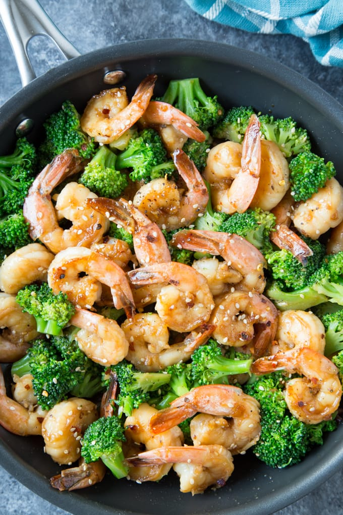 Skillet Honey Garlic Shrimp being cooked in a skillet