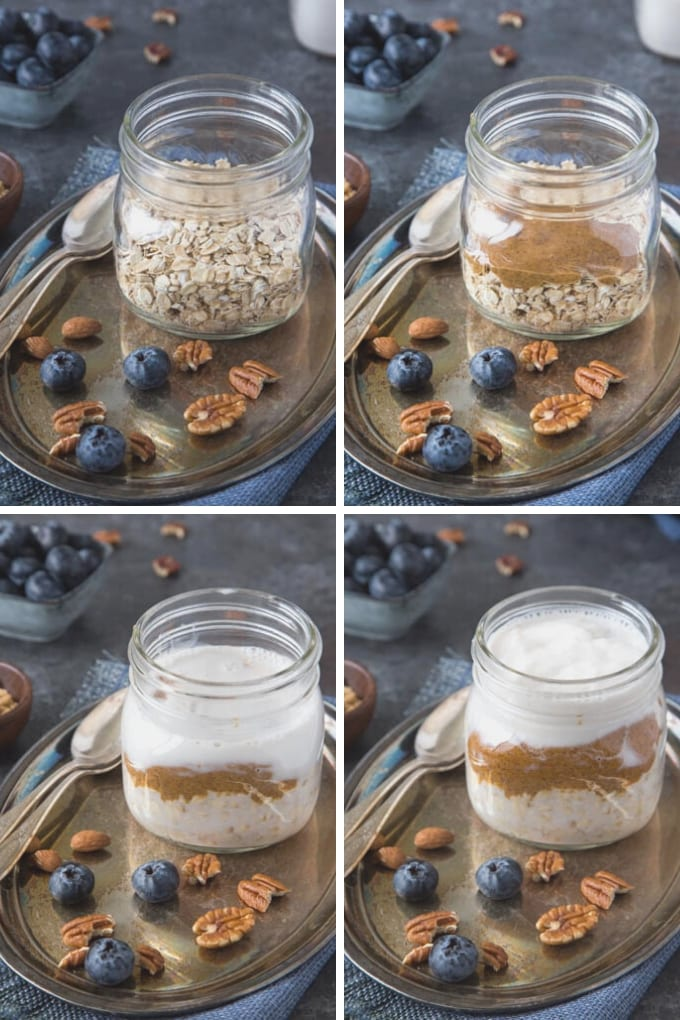 step by step process photo collage showing ingredients being layered into a mason jar in this order oats, almond butter, almond milk and Greek yogurt