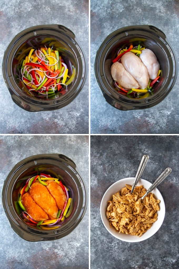 step by step photos of how to make crockpot fajitas. Shows sliced bell pepers and onions in crockpot with chicken and spices. After cooking the chicken is shredded.