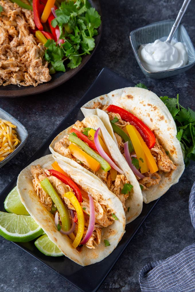 Crockpot Fajitas on platter