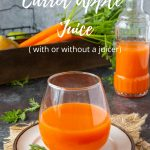 carrot apple juice in a clear glass